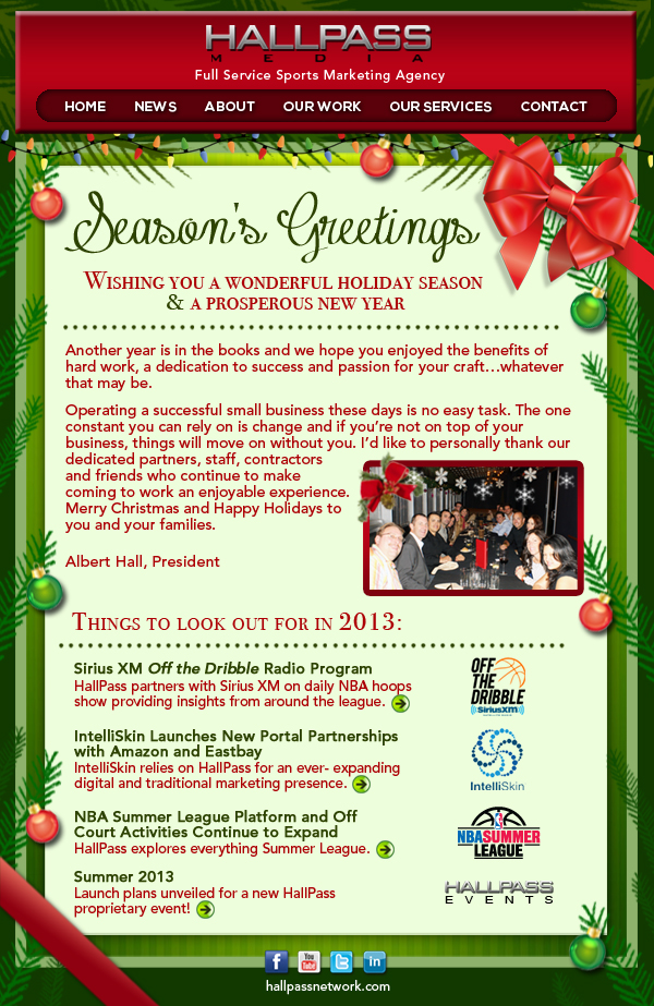 Hallpass Media Holiday Newsletter  Hallpass Media  Sports