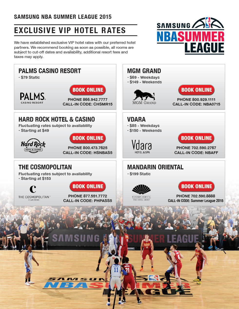 2015 Samsung NBA Summer League VIP Hotel Rates
