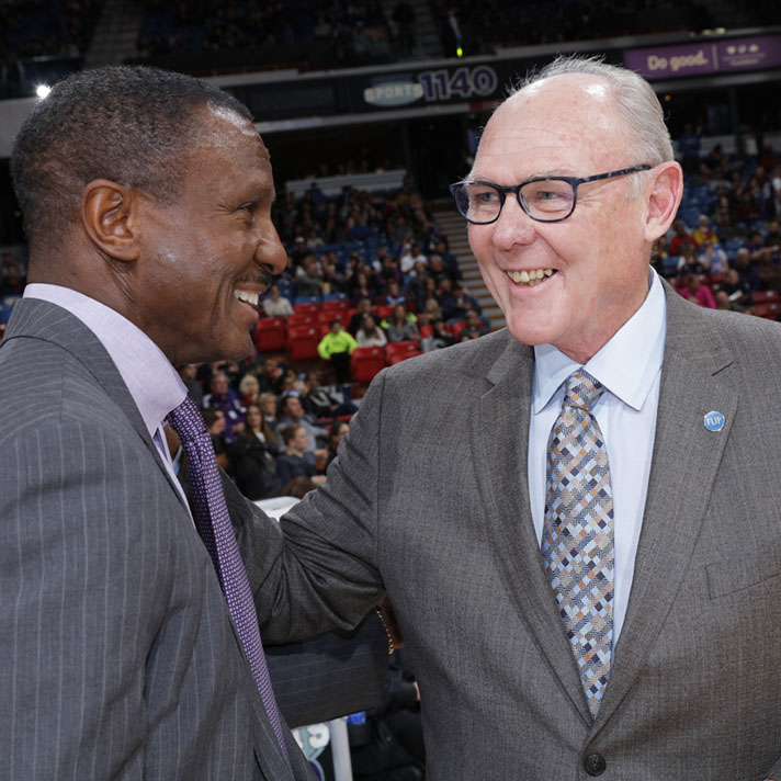 SACRAMENTO, CA - NOVEMBER 15: Head coach George Karl of the Sacramento Kings greets Head Coach Dwane Casey of the Toronto Raptors prior to the game on November 15, 2015 at Sleep Train Arena in Sacramento, California. NOTE TO USER: User expressly acknowledges and agrees that, by downloading and or using this photograph, User is consenting to the terms and conditions of the Getty Images Agreement. Mandatory Copyright Notice: Copyright 2015 NBAE (Photo by Rocky Widner/NBAE via Getty Images)
