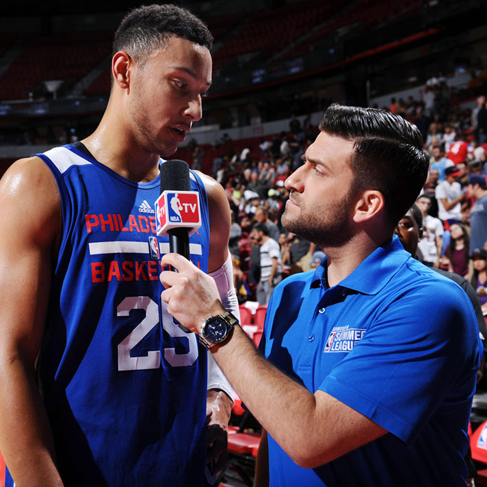 LAS VEGAS, NV - JULY 15: Ben Simmons #25 of Philadelphia 76ers talks with NBA TV reporter Jared Greenberg after the game against the Miami Heat during the 2016 Las Vegas Summer League on July 15, 2016 at the Thomas & Mack Center in Las Vegas, Nevada. NOTE TO USER: User expressly acknowledges and agrees that, by downloading and or using this Photograph, user is consenting to the terms and conditions of the Getty Images License Agreement. Mandatory Copyright Notice: Copyright 2016 NBAE (Photo by Garrett Ellwood/NBAE via Getty Images)